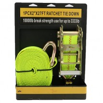 1PC×2inch×27FT Ratchet Straps with Double J hooks